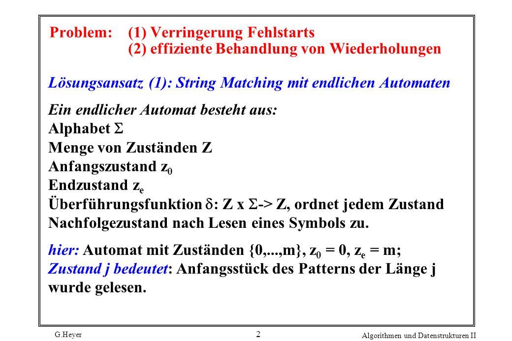 G.Heyer Algorithmen und Datenstrukturen II 2 Problem: (1) Verringerung Fehlstarts (2) effiziente Behandlung von Wiederholungen Lösungsansatz (1): Stri