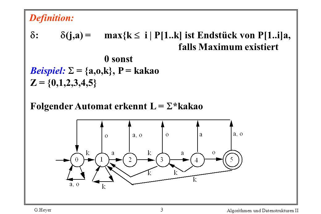 G.Heyer Algorithmen und Datenstrukturen II 3 Definition: : (j,a) = max{k i   P[1..k] ist Endstück von P[1..i]a, falls Maximum existiert 0 sonst Beispi