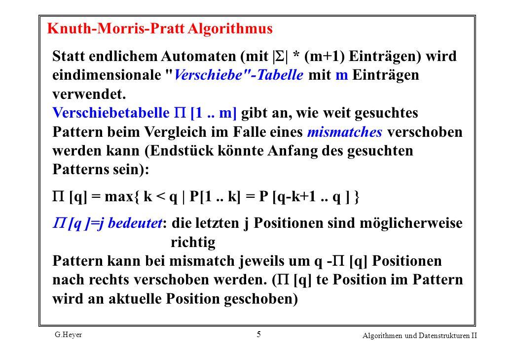G.Heyer Algorithmen und Datenstrukturen II 5 Knuth-Morris-Pratt Algorithmus Statt endlichem Automaten (mit     * (m+1) Einträgen) wird eindimensionale