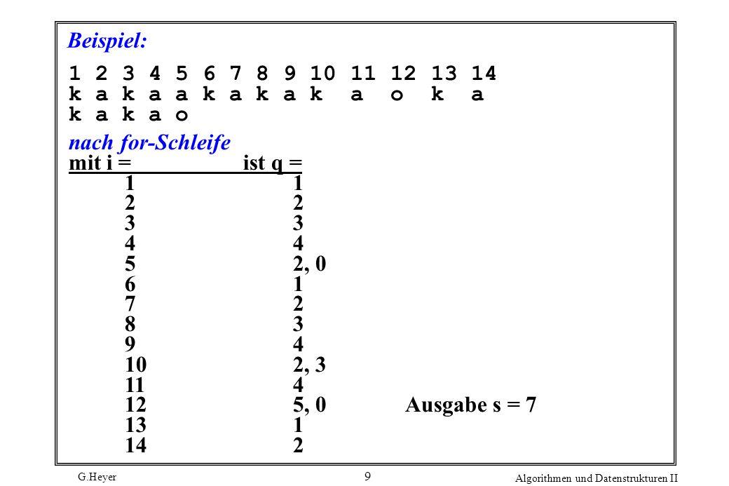 G.Heyer Algorithmen und Datenstrukturen II 9 Beispiel: 1 2 3 4 5 6 7 8 9 10 11 12 13 14 k a k a a k a k a k a o k a k a k a o nach for-Schleife mit i