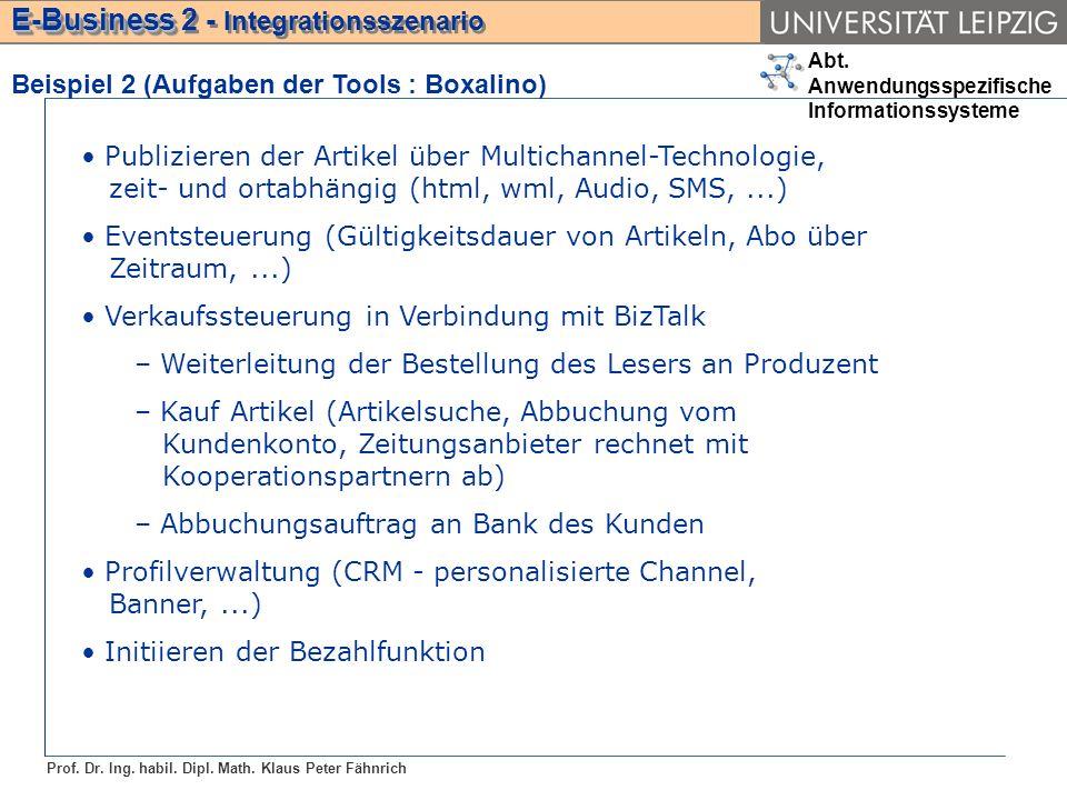 Abt. Anwendungsspezifische Informationssysteme Prof. Dr. Ing. habil. Dipl. Math. Klaus Peter Fähnrich E-Business E-Business 2 - Integrationsszenario B