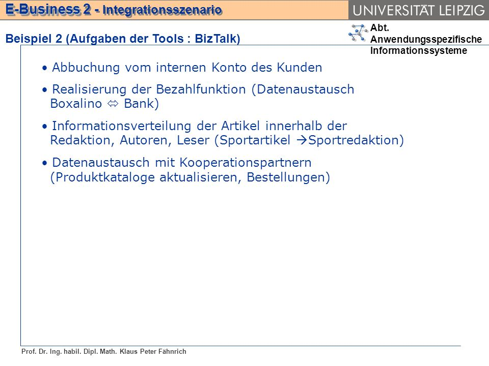 Abt. Anwendungsspezifische Informationssysteme Prof.