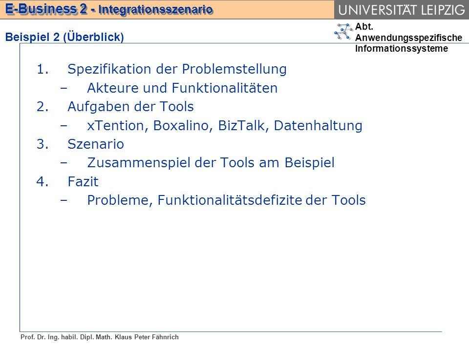 Abt. Anwendungsspezifische Informationssysteme Prof. Dr. Ing. habil. Dipl. Math. Klaus Peter Fähnrich E-Business E-Business 2 - Integrationsszenario 1