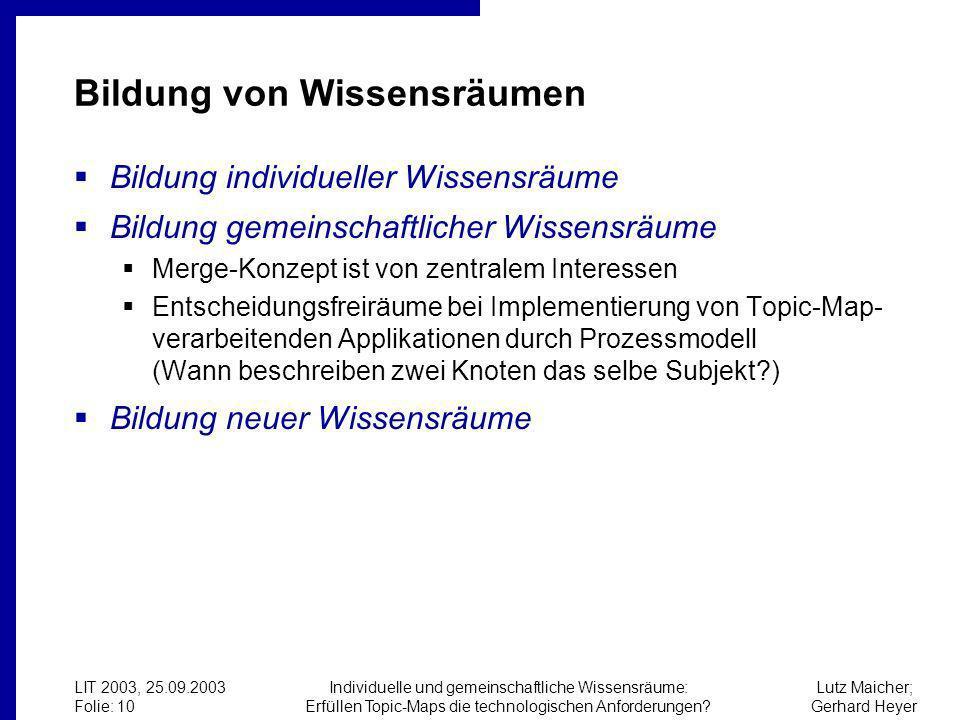 Lutz Maicher; Gerhard Heyer LIT 2003, 25.09.2003 Folie: 10 Individuelle und gemeinschaftliche Wissensräume: Erfüllen Topic-Maps die technologischen Anforderungen.