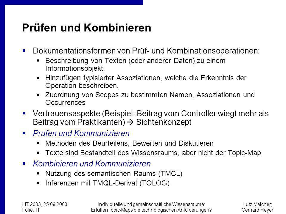 Lutz Maicher; Gerhard Heyer LIT 2003, 25.09.2003 Folie: 11 Individuelle und gemeinschaftliche Wissensräume: Erfüllen Topic-Maps die technologischen Anforderungen.