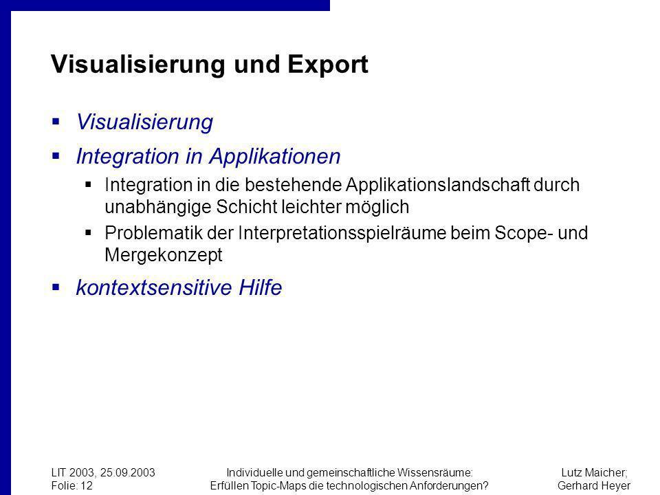Lutz Maicher; Gerhard Heyer LIT 2003, 25.09.2003 Folie: 12 Individuelle und gemeinschaftliche Wissensräume: Erfüllen Topic-Maps die technologischen Anforderungen.