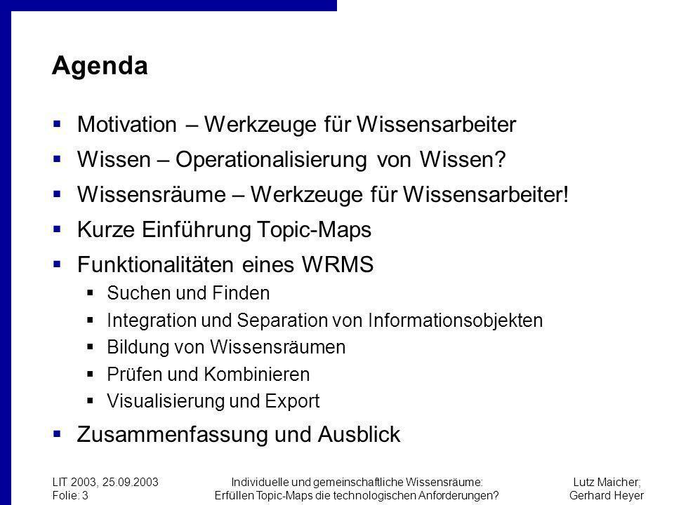 Lutz Maicher; Gerhard Heyer LIT 2003, 25.09.2003 Folie: 3 Individuelle und gemeinschaftliche Wissensräume: Erfüllen Topic-Maps die technologischen Anforderungen.
