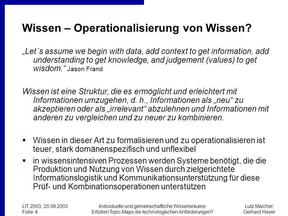 Lutz Maicher; Gerhard Heyer LIT 2003, 25.09.2003 Folie: 4 Individuelle und gemeinschaftliche Wissensräume: Erfüllen Topic-Maps die technologischen Anforderungen.