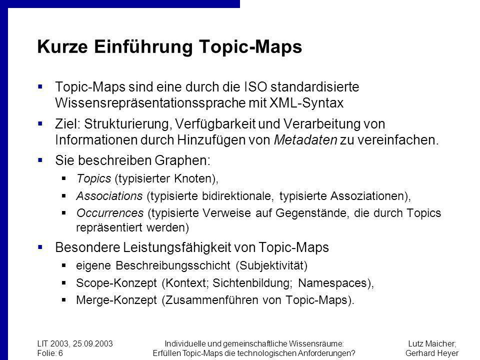 Lutz Maicher; Gerhard Heyer LIT 2003, 25.09.2003 Folie: 6 Individuelle und gemeinschaftliche Wissensräume: Erfüllen Topic-Maps die technologischen Anforderungen.