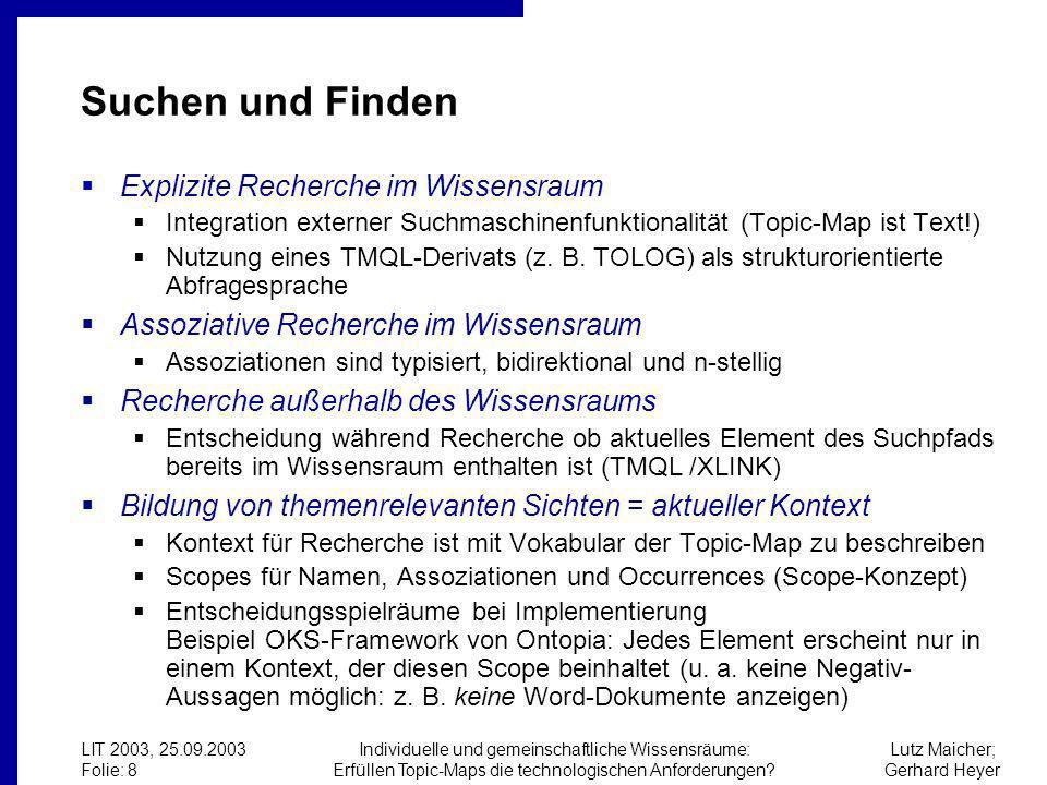 Lutz Maicher; Gerhard Heyer LIT 2003, 25.09.2003 Folie: 8 Individuelle und gemeinschaftliche Wissensräume: Erfüllen Topic-Maps die technologischen Anforderungen.