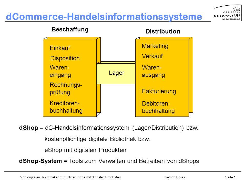 Von digitalen Bibliotheken zu Online-Shops mit digitalen ProduktenDietrich BolesSeite 10 dCommerce-Handelsinformationssysteme Einkauf Disposition Ware
