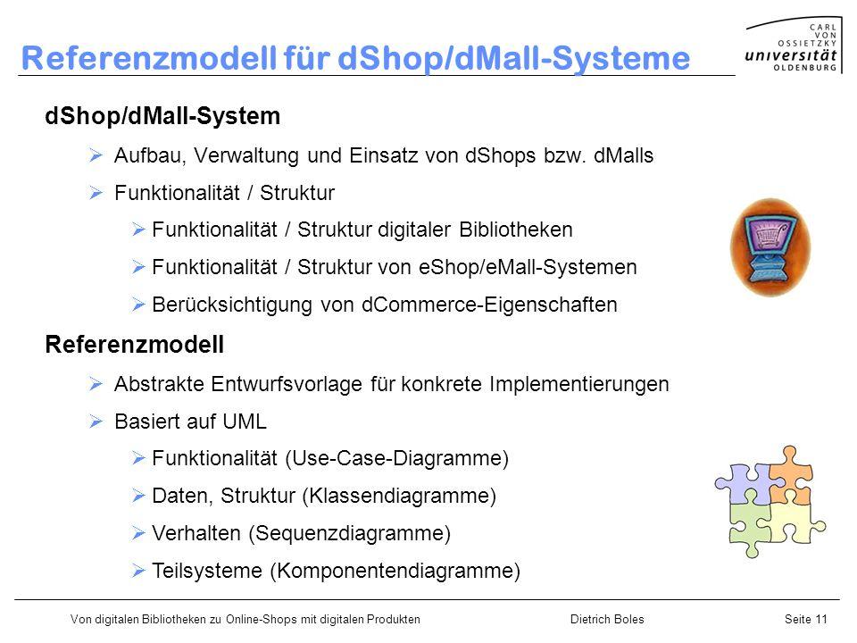 Von digitalen Bibliotheken zu Online-Shops mit digitalen ProduktenDietrich BolesSeite 11 Referenzmodell für dShop/dMall-Systeme dShop/dMall-System Aufbau, Verwaltung und Einsatz von dShops bzw.