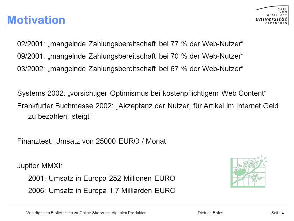 Von digitalen Bibliotheken zu Online-Shops mit digitalen ProduktenDietrich BolesSeite 4 Motivation 02/2001: mangelnde Zahlungsbereitschaft bei 77 % de