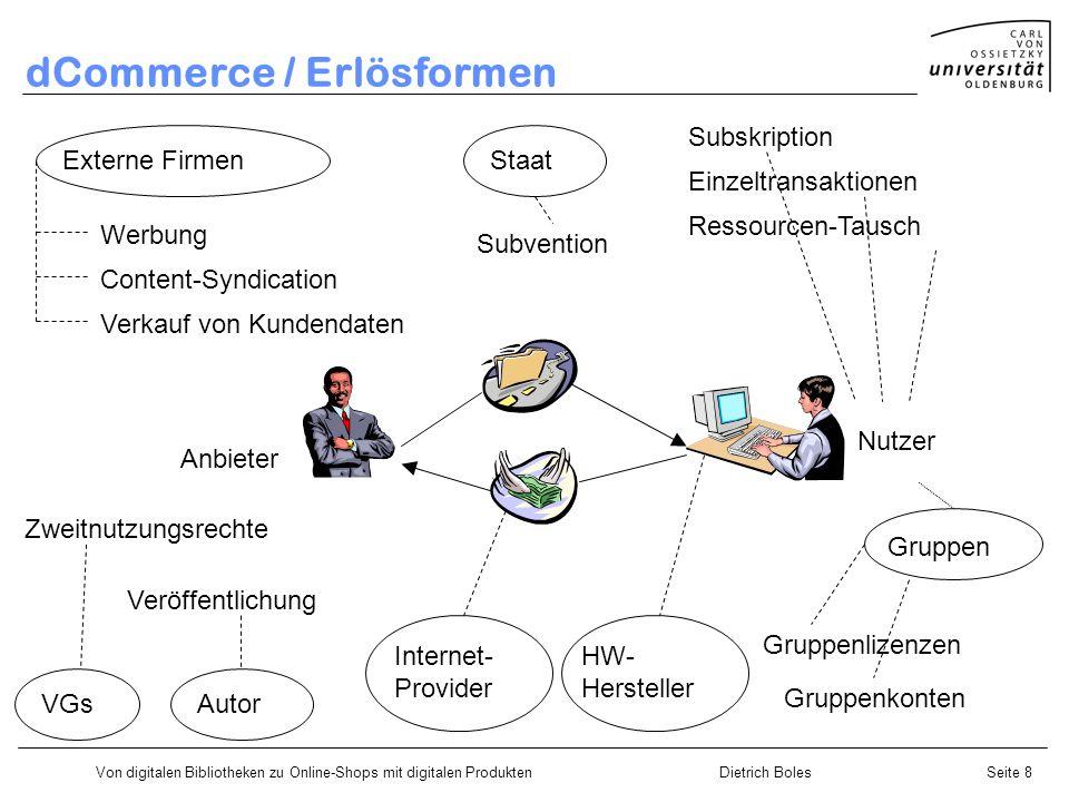 Von digitalen Bibliotheken zu Online-Shops mit digitalen ProduktenDietrich BolesSeite 8 Gruppen dCommerce / Erlösformen Subskription Einzeltransaktion
