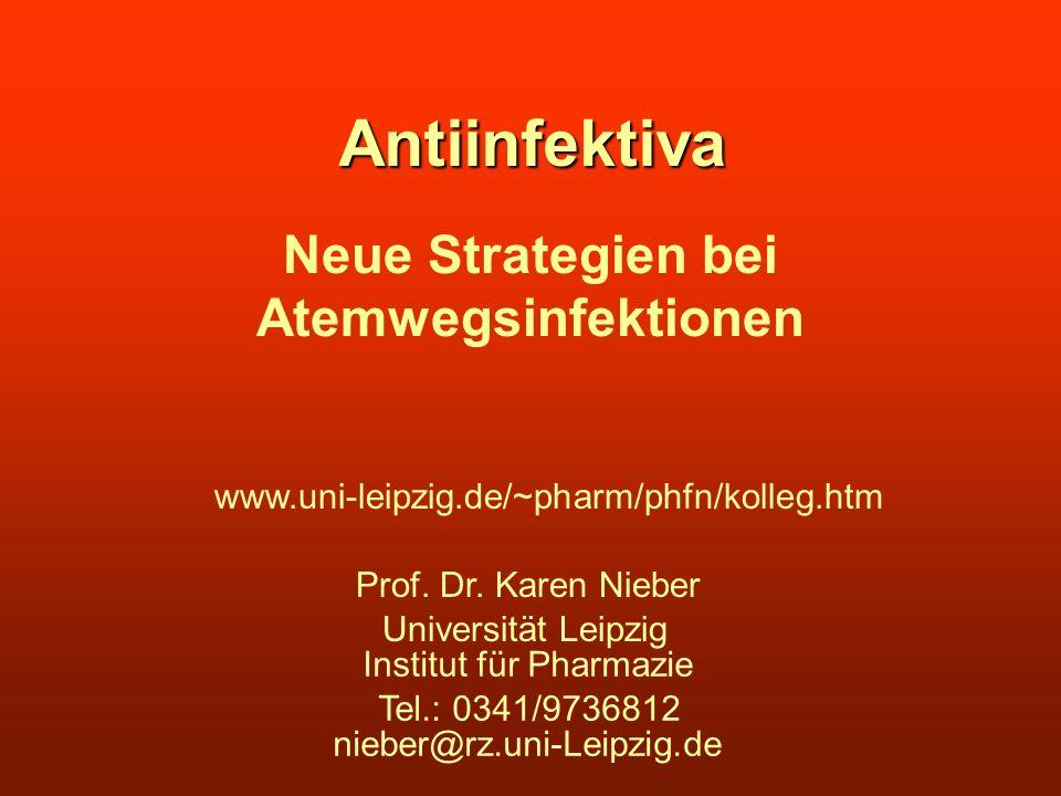 Antiinfektiva Neue Strategien bei Atemwegsinfektionen Universität Leipzig Institut für Pharmazie Tel.: 0341/9736812 nieber@rz.uni-Leipzig.de Prof. Dr.