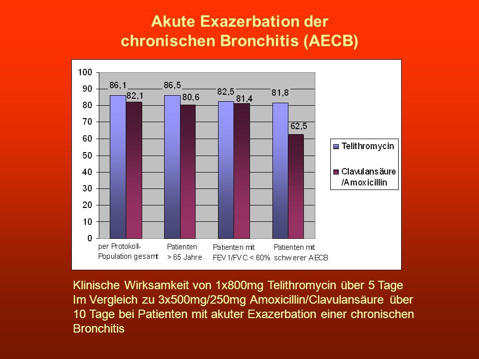 Akute Exazerbation der chronischen Bronchitis (AECB) Klinische Wirksamkeit von 1x800mg Telithromycin über 5 Tage Im Vergleich zu 3x500mg/250mg Amoxici