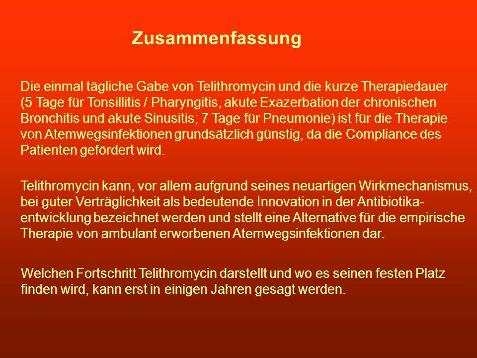 Zusammenfassung Die einmal tägliche Gabe von Telithromycin und die kurze Therapiedauer (5 Tage für Tonsillitis / Pharyngitis, akute Exazerbation der c