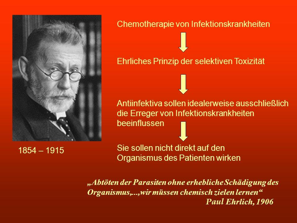 1854 – 1915 Chemotherapie von Infektionskrankheiten Ehrliches Prinzip der selektiven Toxizität Antiinfektiva sollen idealerweise ausschließlich die Er