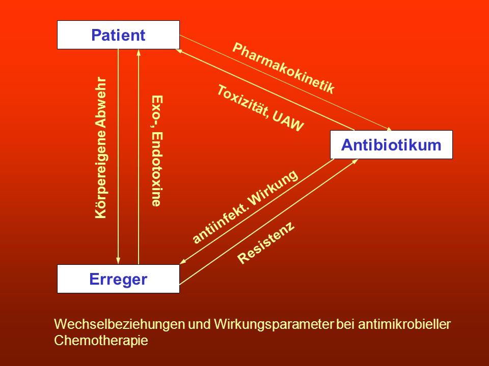 Patient Erreger Antibiotikum Wechselbeziehungen und Wirkungsparameter bei antimikrobieller Chemotherapie Pharmakokinetik Toxizität, UAW antiinfekt. Wi
