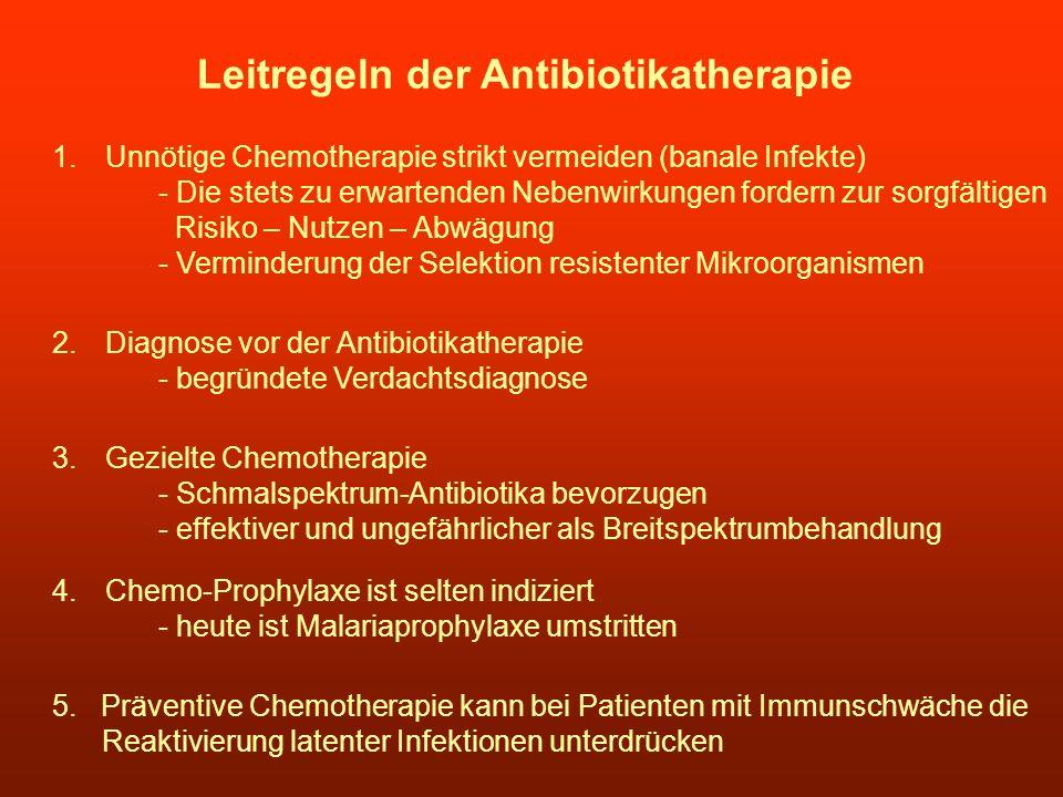Leitregeln der Antibiotikatherapie 1.Unnötige Chemotherapie strikt vermeiden (banale Infekte) - Die stets zu erwartenden Nebenwirkungen fordern zur so