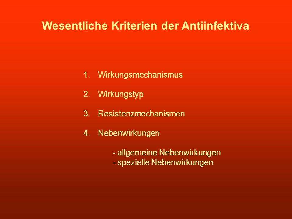 Wesentliche Kriterien der Antiinfektiva 1.Wirkungsmechanismus 2.Wirkungstyp 3.Resistenzmechanismen 4.Nebenwirkungen - allgemeine Nebenwirkungen - spez