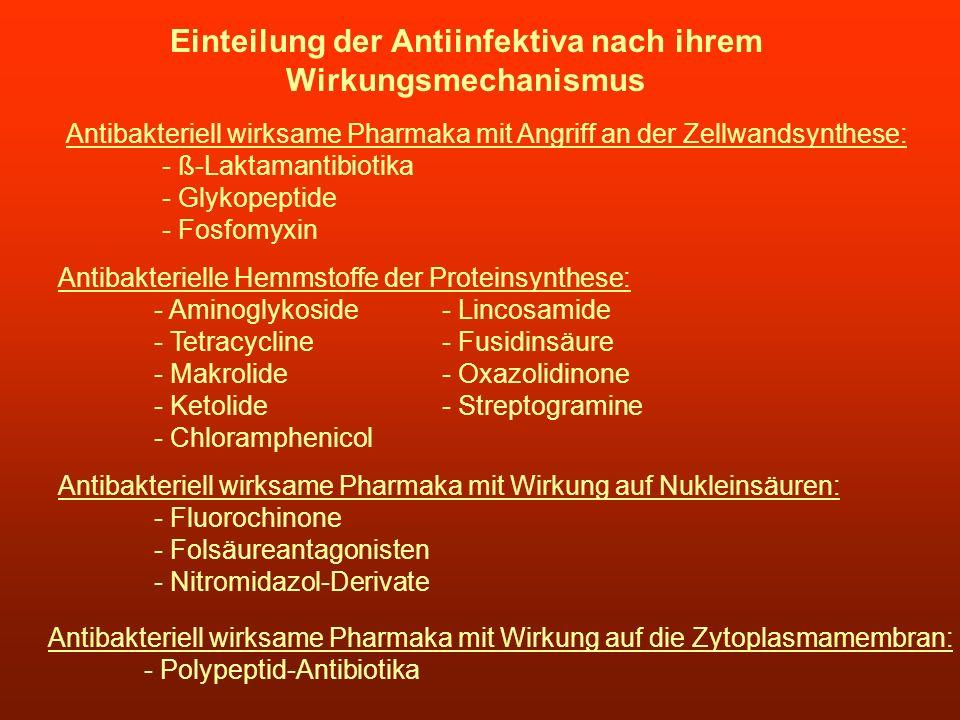 Einteilung der Antiinfektiva nach ihrem Wirkungsmechanismus Antibakteriell wirksame Pharmaka mit Angriff an der Zellwandsynthese: - ß-Laktamantibiotik