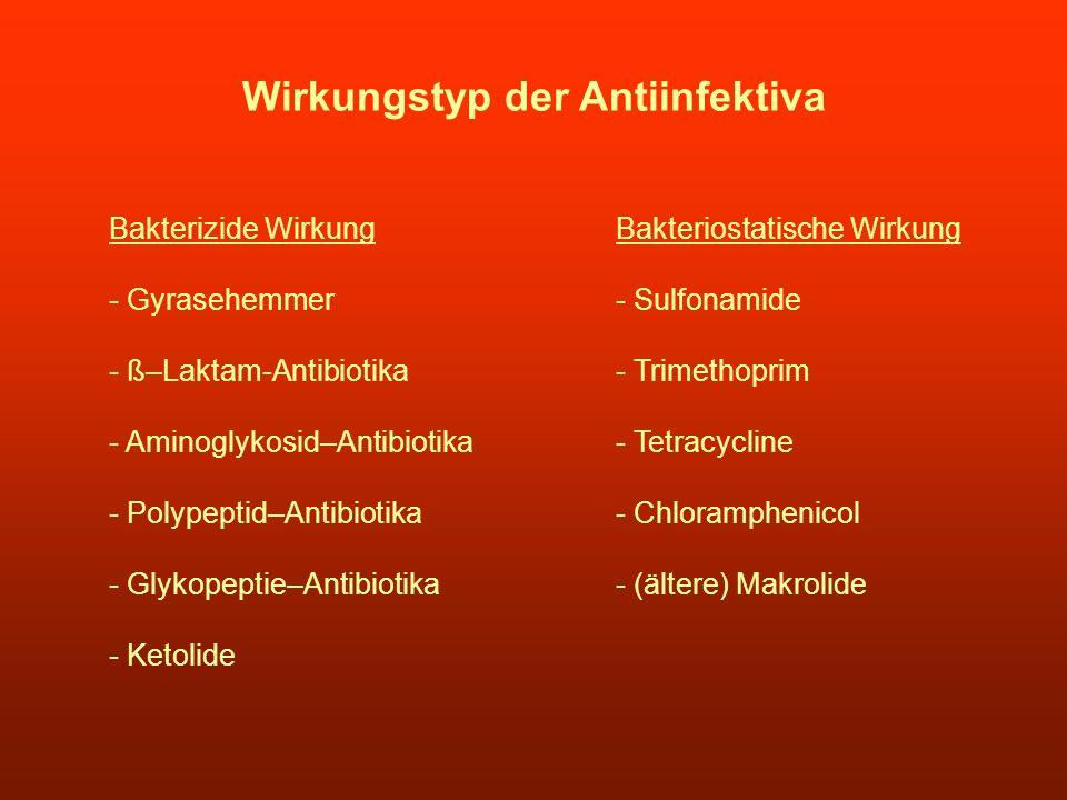 Wirkungstyp der Antiinfektiva Bakterizide Wirkung - Gyrasehemmer - ß–Laktam-Antibiotika - Aminoglykosid–Antibiotika - Polypeptid–Antibiotika - Glykope