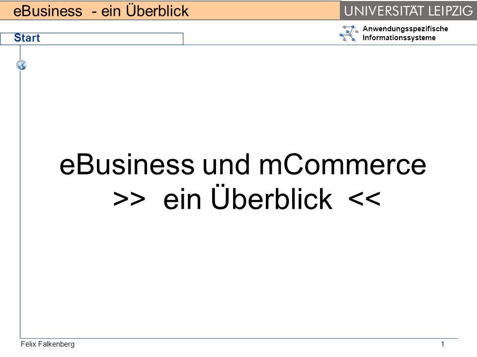 eBusiness - ein Überblick Felix Falkenberg Anwendungsspezifische Informationssysteme 1 Start eBusiness und mCommerce >> ein Überblick <<
