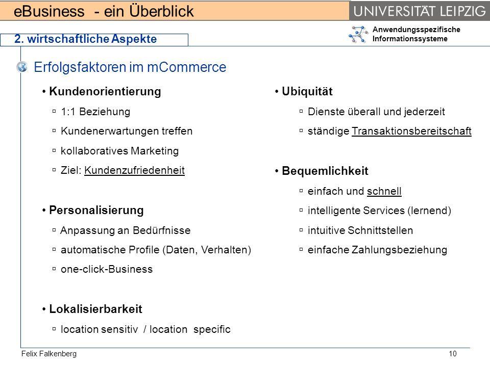 eBusiness - ein Überblick Felix Falkenberg Anwendungsspezifische Informationssysteme 10 2. wirtschaftliche Aspekte Erfolgsfaktoren im mCommerce Kunden