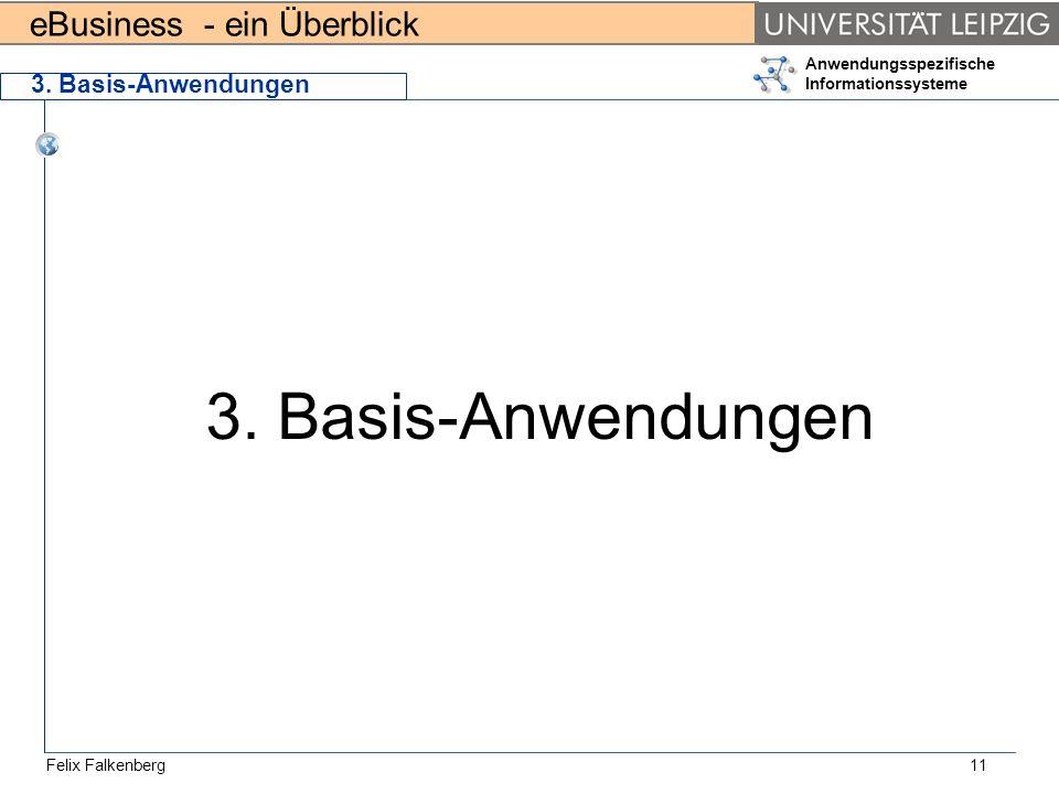 eBusiness - ein Überblick Felix Falkenberg Anwendungsspezifische Informationssysteme 11 3. Basis-Anwendungen