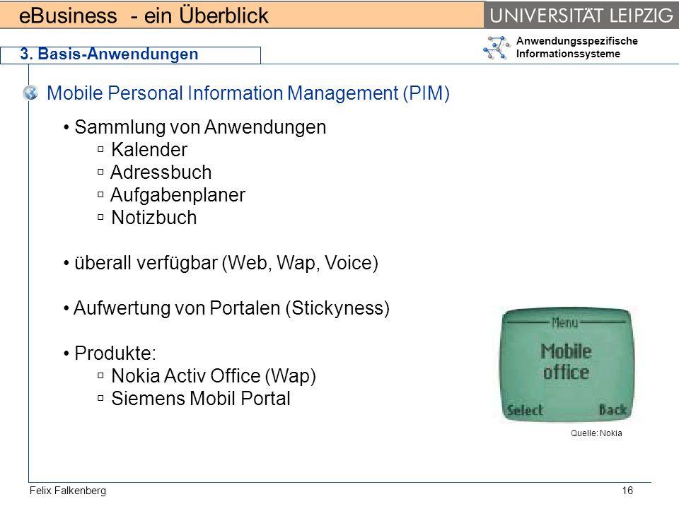 eBusiness - ein Überblick Felix Falkenberg Anwendungsspezifische Informationssysteme 16 3. Basis-Anwendungen Mobile Personal Information Management (P
