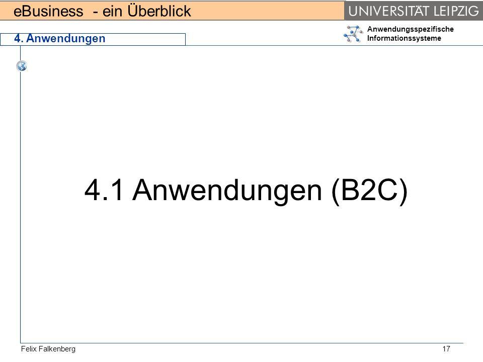 eBusiness - ein Überblick Felix Falkenberg Anwendungsspezifische Informationssysteme 17 4. Anwendungen 4.1 Anwendungen (B2C)
