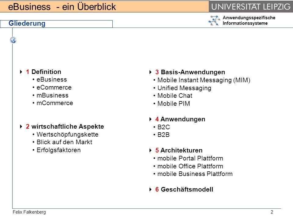 eBusiness - ein Überblick Felix Falkenberg Anwendungsspezifische Informationssysteme 2 Gliederung 1 Definition eBusiness eCommerce mBusiness mCommerce