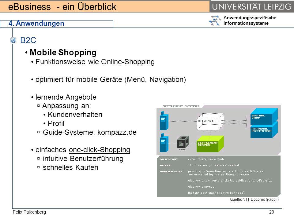 eBusiness - ein Überblick Felix Falkenberg Anwendungsspezifische Informationssysteme 20 4. Anwendungen B2C Mobile Shopping Funktionsweise wie Online-S
