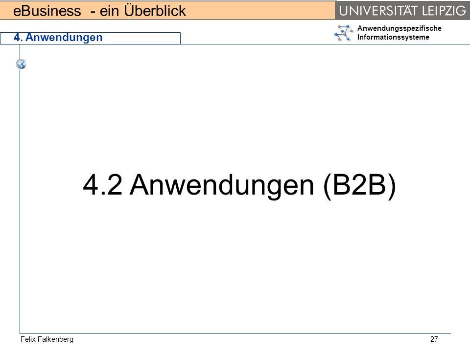 eBusiness - ein Überblick Felix Falkenberg Anwendungsspezifische Informationssysteme 27 4. Anwendungen 4.2 Anwendungen (B2B)