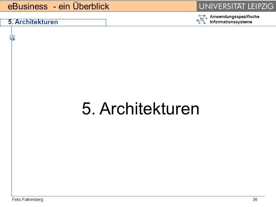 eBusiness - ein Überblick Felix Falkenberg Anwendungsspezifische Informationssysteme 36 5. Architekturen