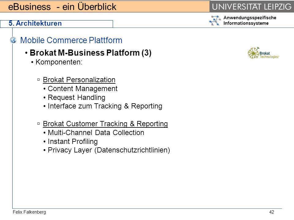 eBusiness - ein Überblick Felix Falkenberg Anwendungsspezifische Informationssysteme 42 5. Architekturen Mobile Commerce Plattform Brokat M-Business P