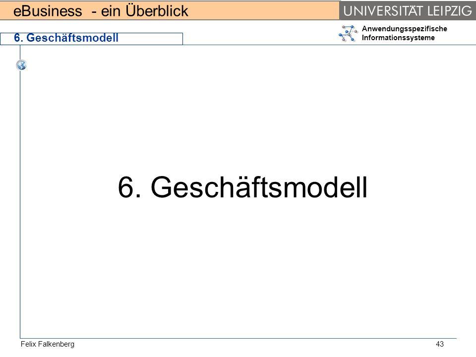 eBusiness - ein Überblick Felix Falkenberg Anwendungsspezifische Informationssysteme 43 6. Geschäftsmodell