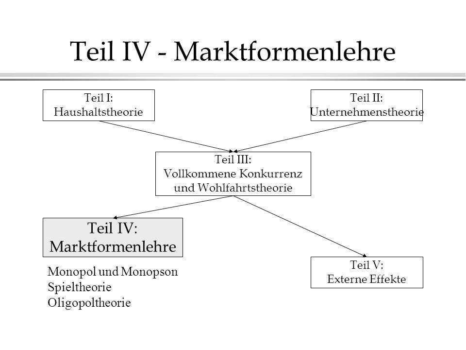 Teil IV - Marktformenlehre Teil I: Haushaltstheorie Teil II: Unternehmenstheorie Teil III: Vollkommene Konkurrenz und Wohlfahrtstheorie Teil IV: Markt