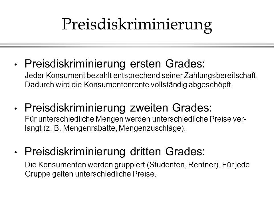 Preisdiskriminierung Preisdiskriminierung ersten Grades: Preisdiskriminierung zweiten Grades: Preisdiskriminierung dritten Grades: Jeder Konsument bez