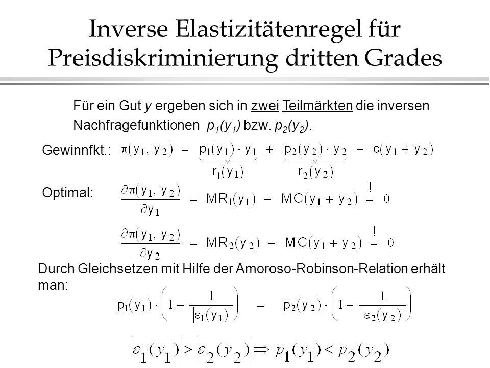 Inverse Elastizitätenregel für Preisdiskriminierung dritten Grades Für ein Gut y ergeben sich in zwei Teilmärkten die inversen Nachfragefunktionen p 1