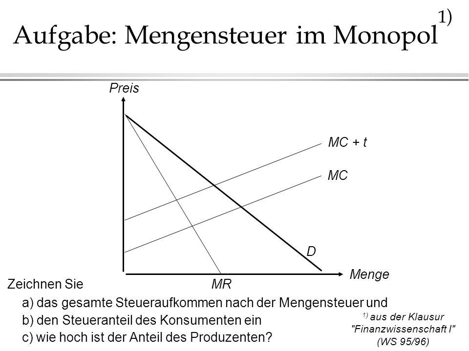 Aufgabe: Mengensteuer im Monopol 1 ) Zeichnen Sie a) das gesamte Steueraufkommen nach der Mengensteuer und b) den Steueranteil des Konsumenten ein c)