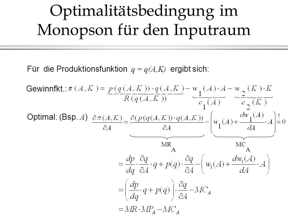 Optimalitätsbedingung im Monopson für den Inputraum Gewinnfkt.: Optimal: (Bsp. A ) Für die Produktionsfunktion q = q(A,K) ergibt sich: MR A MC A