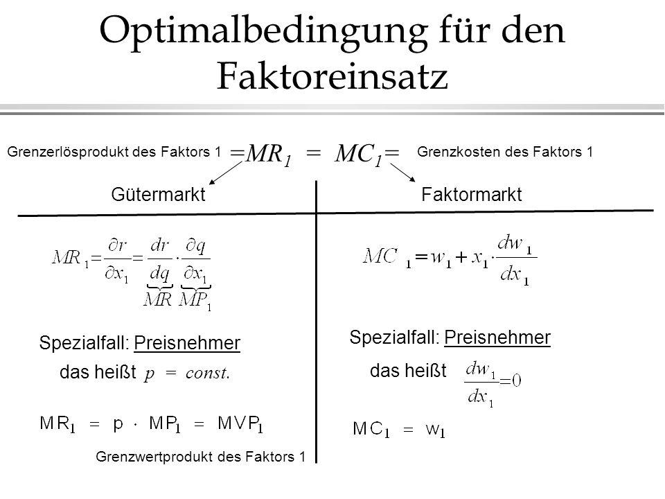 Optimalbedingung für den Faktoreinsatz =MR 1 = MC 1 = GütermarktFaktormarkt Spezialfall: Preisnehmer das heißt p = const. Spezialfall: Preisnehmer das