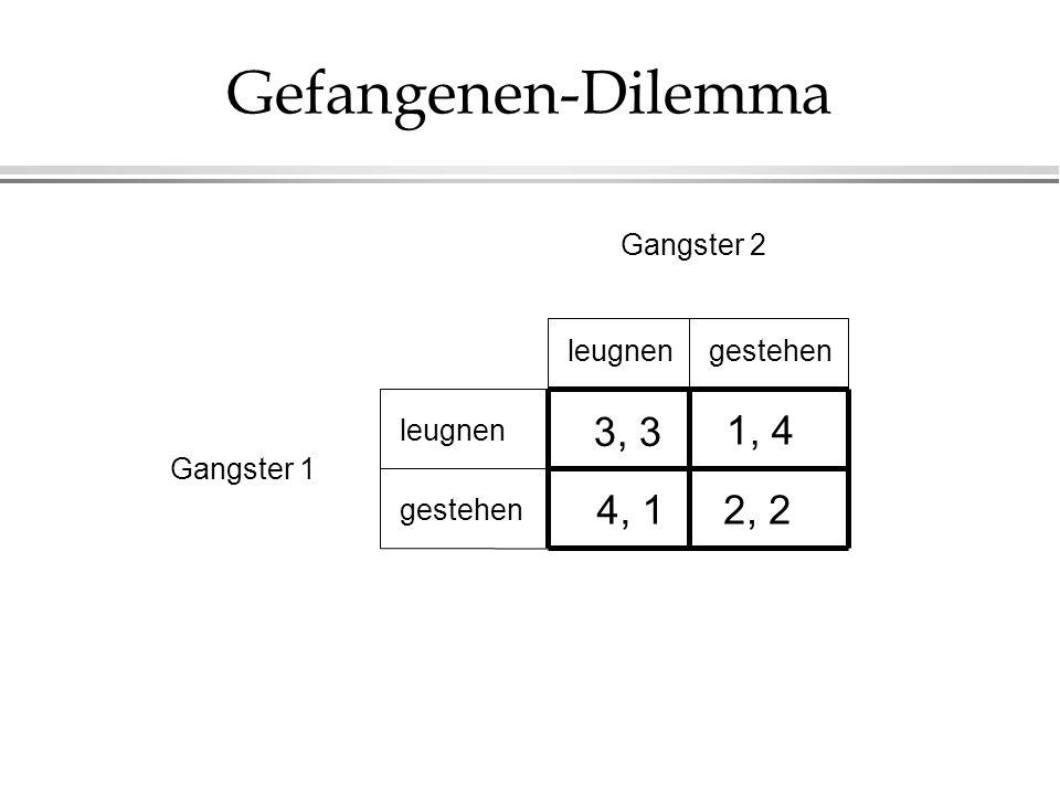 Gefangenen-Dilemma gestehen Gangster 1 Gangster 2 gestehen leugnen 3, 3 2, 24, 1 1, 4
