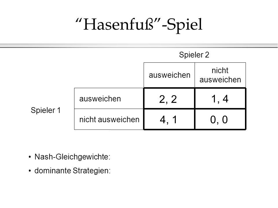 Hasenfuß-Spiel nicht ausweichen Spieler 1 Spieler 2 nicht ausweichen ausweichen 2, 2 0, 04, 1 1, 4 Nash-Gleichgewichte: dominante Strategien: