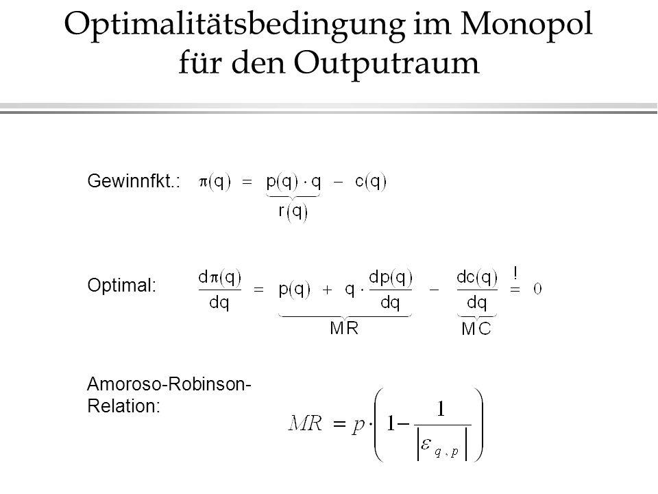 Optimalitätsbedingung im Monopol für den Outputraum Gewinnfkt.: Optimal: Amoroso-Robinson- Relation: