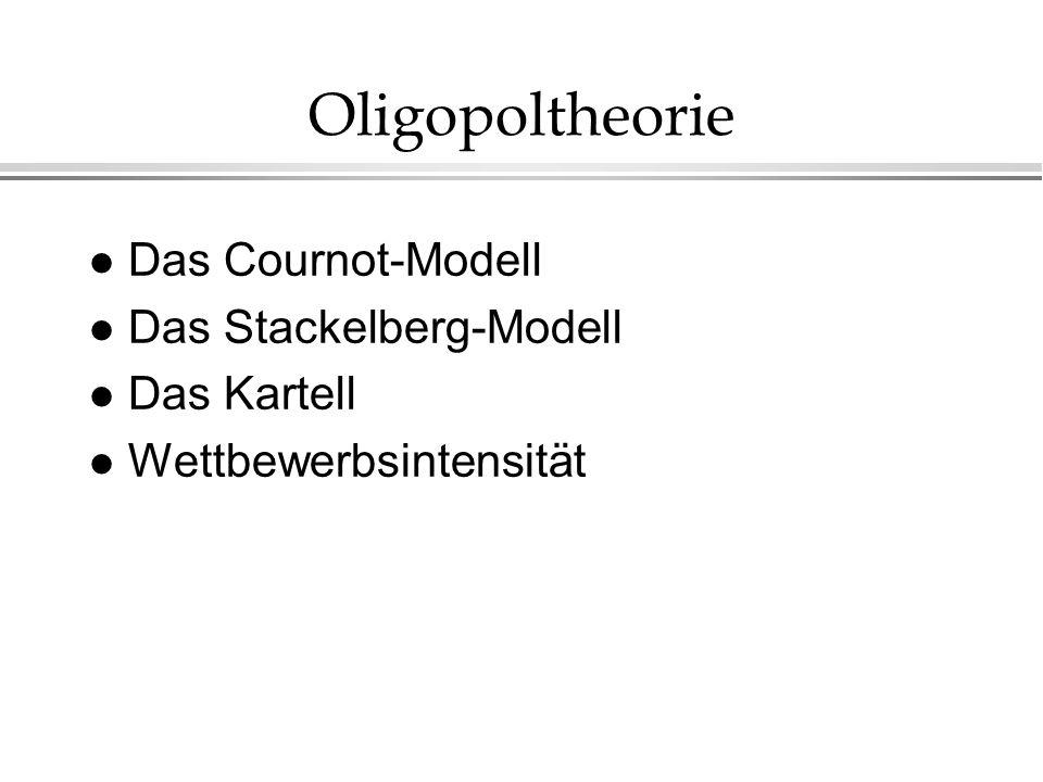 l Das Cournot-Modell l Das Stackelberg-Modell l Das Kartell l Wettbewerbsintensität