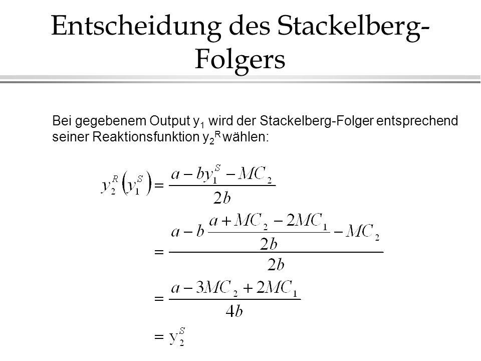 Entscheidung des Stackelberg- Folgers Bei gegebenem Output y 1 wird der Stackelberg-Folger entsprechend seiner Reaktionsfunktion y 2 R wählen: