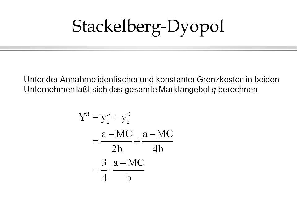 Stackelberg-Dyopol Unter der Annahme identischer und konstanter Grenzkosten in beiden Unternehmen läßt sich das gesamte Marktangebot q berechnen: